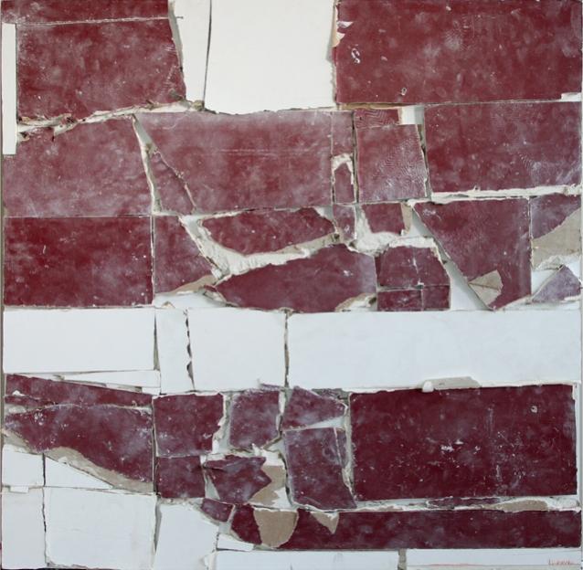 Pablo Rasgado  Unfolded architecture (Monochromatic muralism No. 21),  2012 drywall from ex teresa arte actual, 100 x 100 cm