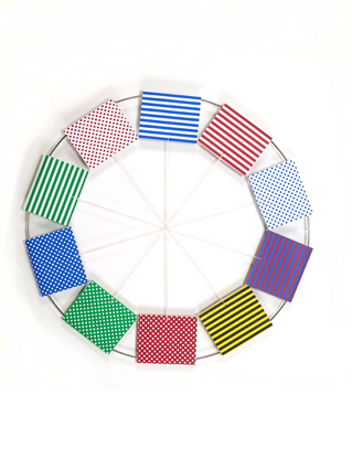 Katerina Šedá  Untitled (from the series Over and Over),  2008 colour papers, metal, thread, diameter 70 cm
