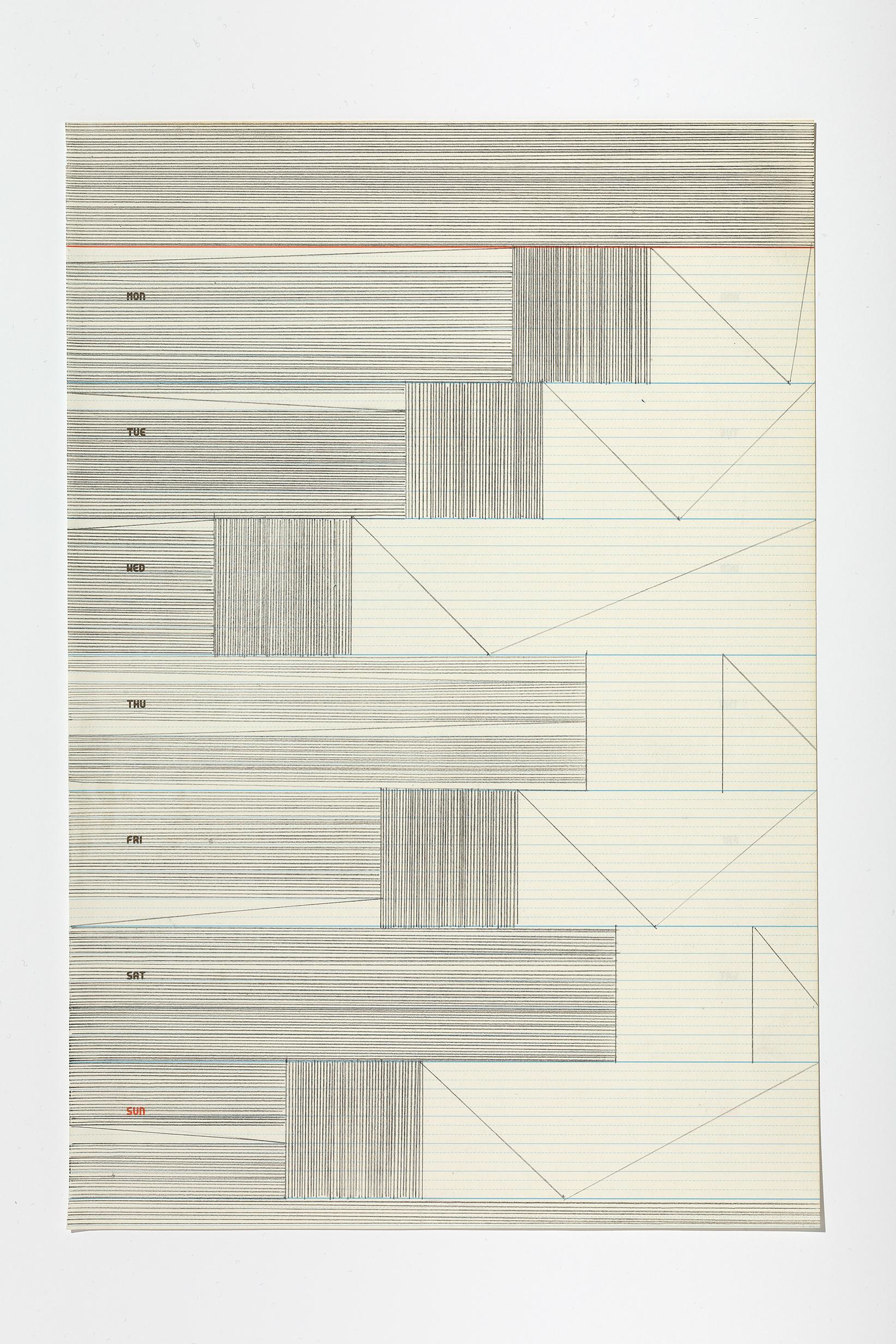 Haleh Redjaian  Six Weeks in Love (3/6) , 2017 graphite on paper, 28,5 x 19,5 cm