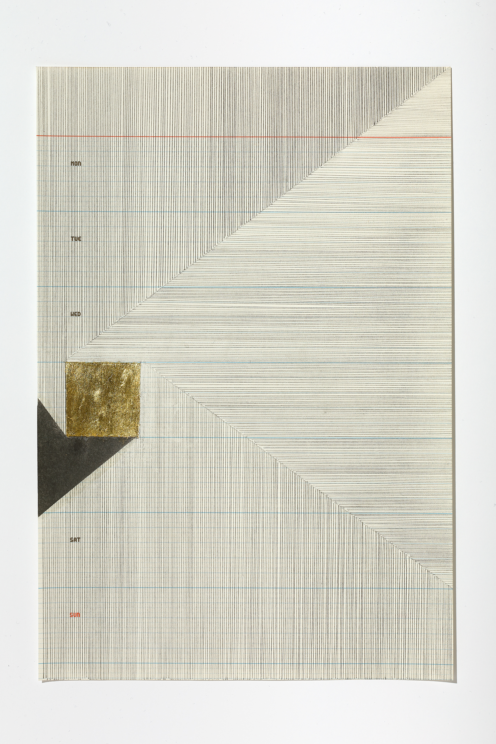 Haleh Redjaian  Six Weeks in Love (4/6) , 2017 graphite and gold leaf on paper, 28,5 x 19,5 cm