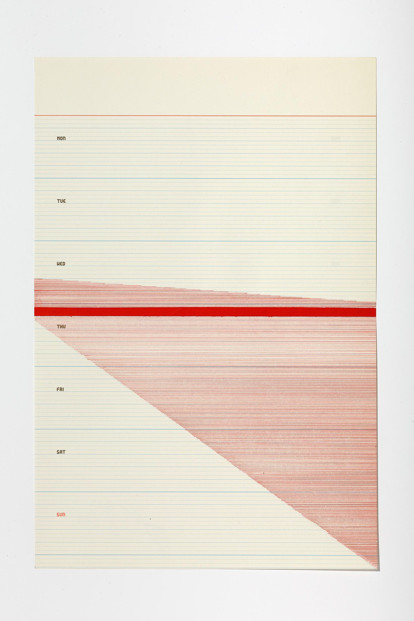 Haleh Redjaian  Six Weeks in Love (5/6) , 2017 archival ink pen on paper, 28,5 x 19,5 cm