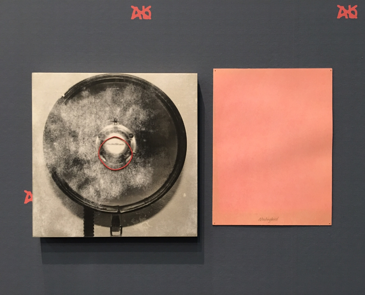 Left: Matthew Metzger,  Its A Voice With Which One Cannot Argue,  2017 acrylic, photo transfer, oil on panel,30.5 cm x 30.5 cm (12 x 12 in) Right: Matthew Metzger,  Mockingbird , 2017, gesso and oil on paper,22.86 x 31.75 cm (9 x 12.5 in) installation view