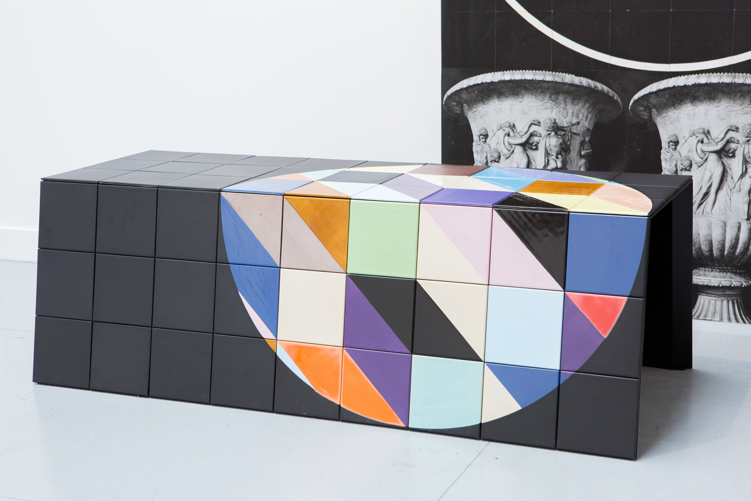 Claudia Wieser, 2015, (bench 3) , painted tiles,45 x 55 x 135 cm