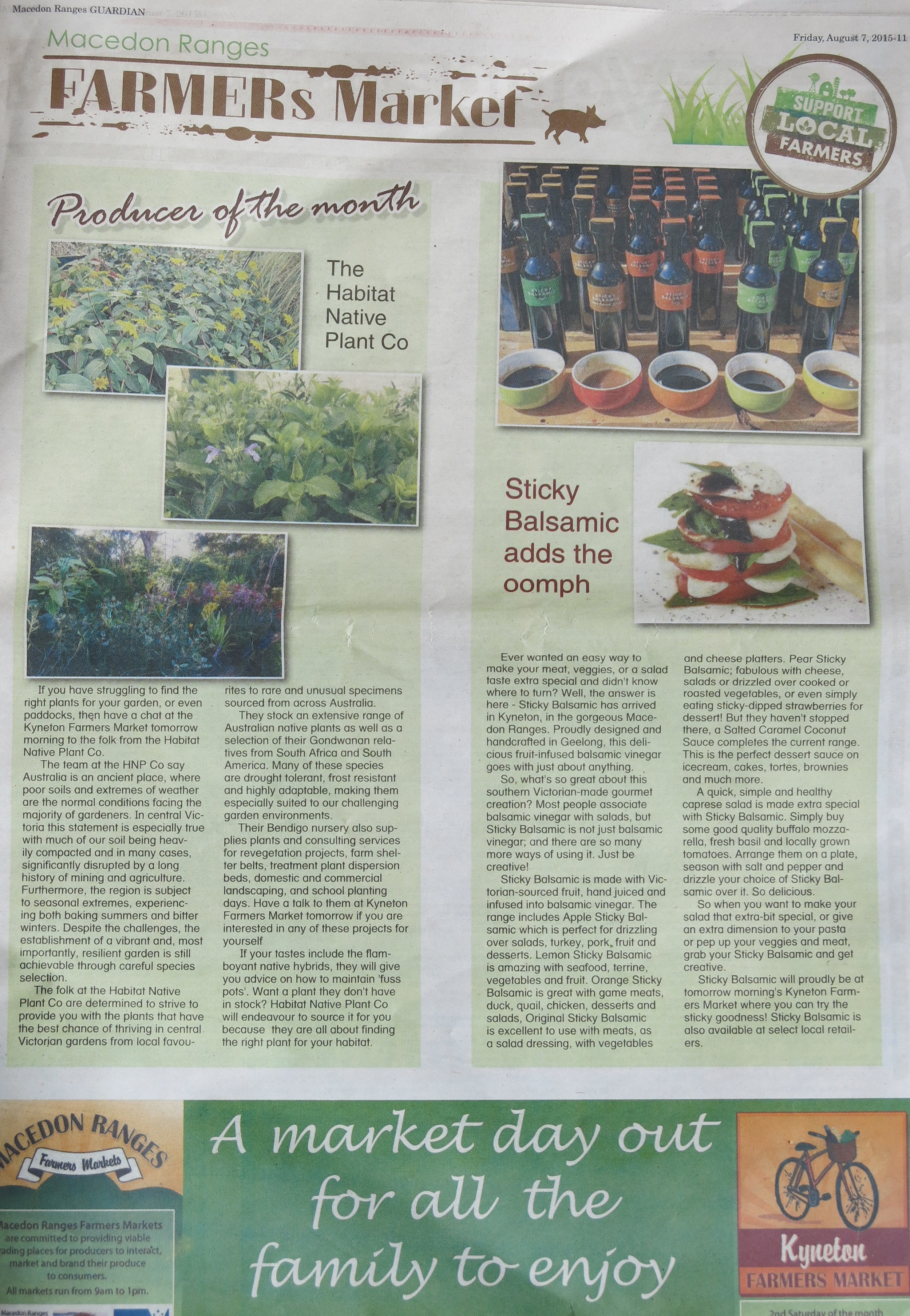 Sticky Balsamic in the Macedon Rangers Farmers Market Newspaper