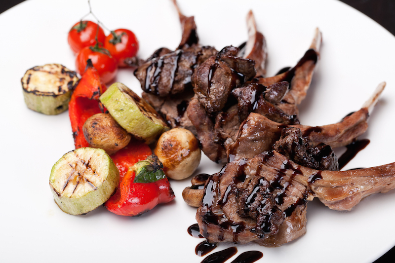 Sticky Balsamic Lamb Chops with Grilled Vegetables