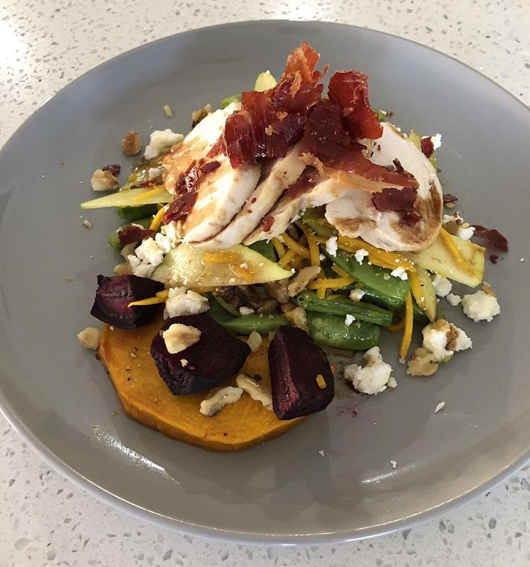 Chicken, Beetroot, Snow Pea  and Pumpkin Salad with Sticky Balsamic.JPG