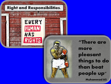 Examples of school assemblies about Rights/Responsibilities and Muhammad Ali