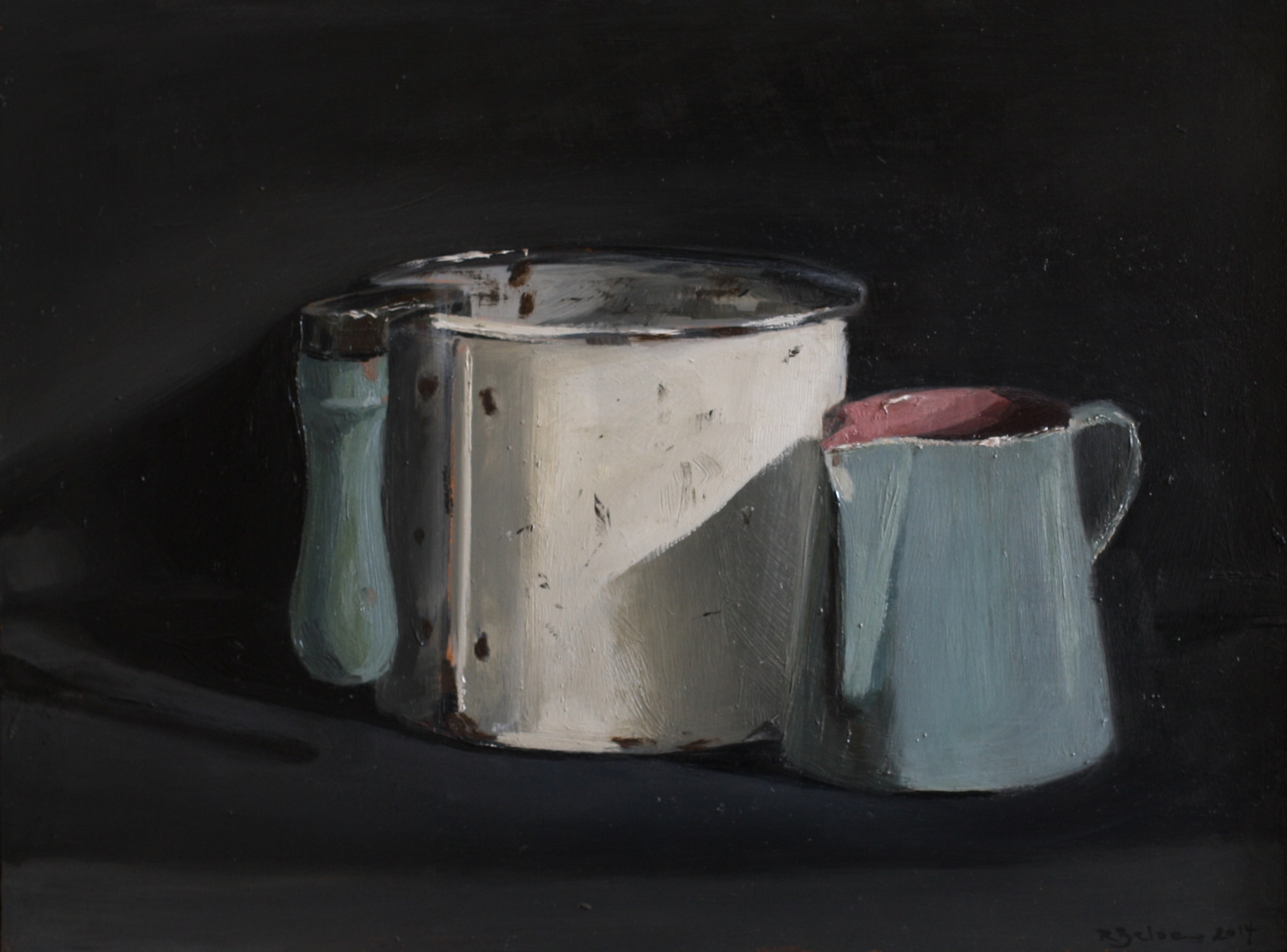 Flour Sifter and Jug  oil on gesso panel  18 x 24 cm  sold