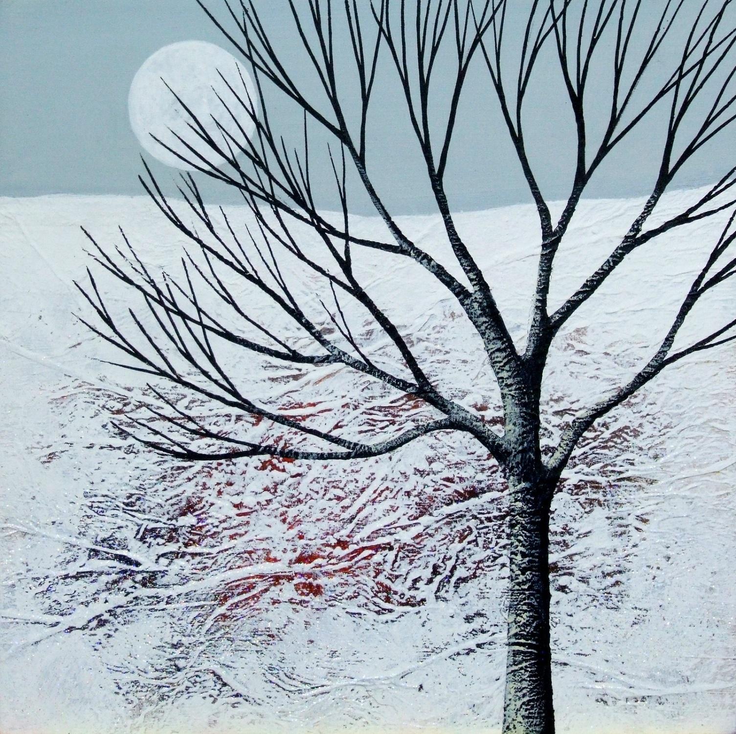 Winter Moonrise  acrylic & mixed media  SOLD