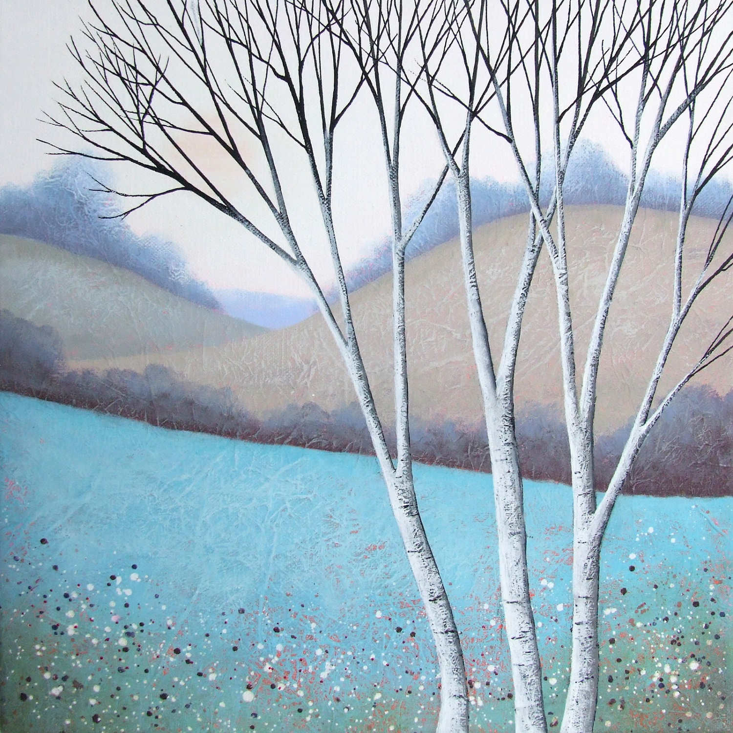 The Elegant Birches II  acrylic & mixed media  SOLD