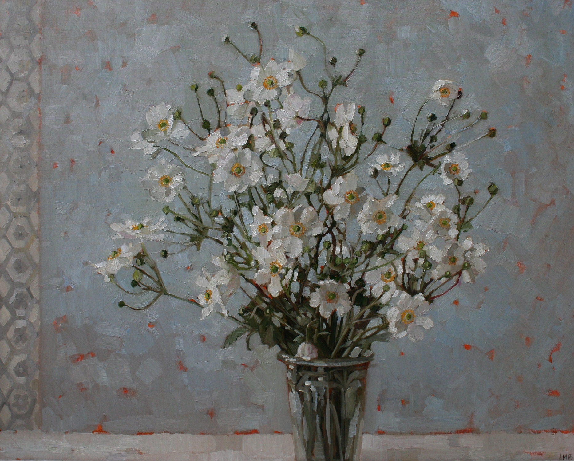 White Japanese Anemones  oil  61 x 76 cm  SOLD