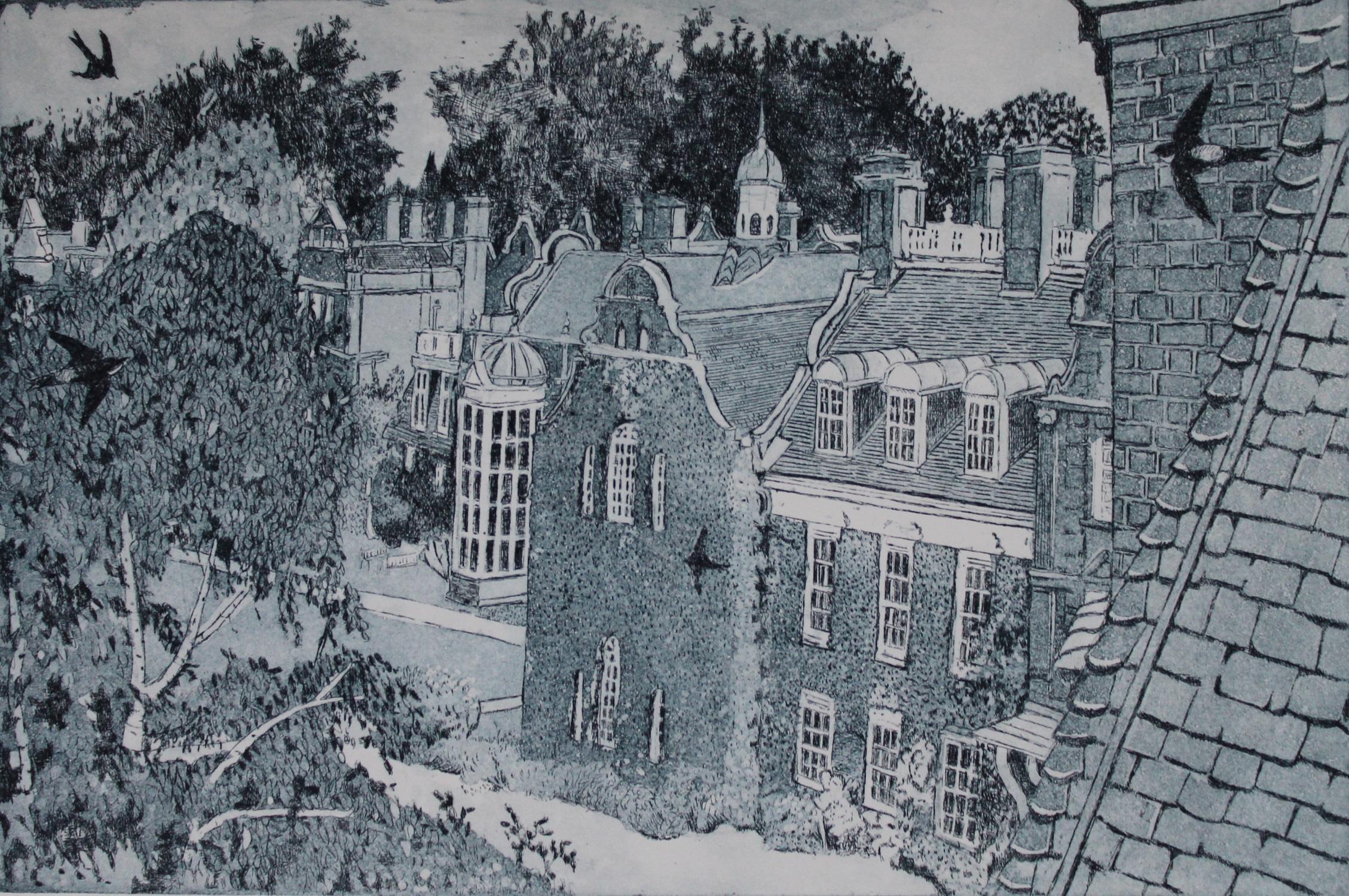 Return to Newnham   etching   30 x 20 cm  (unframed)
