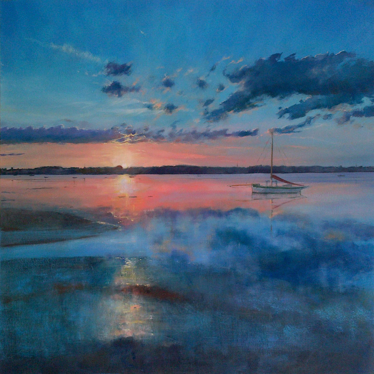 Mistley Sunset 1  oil on canvas