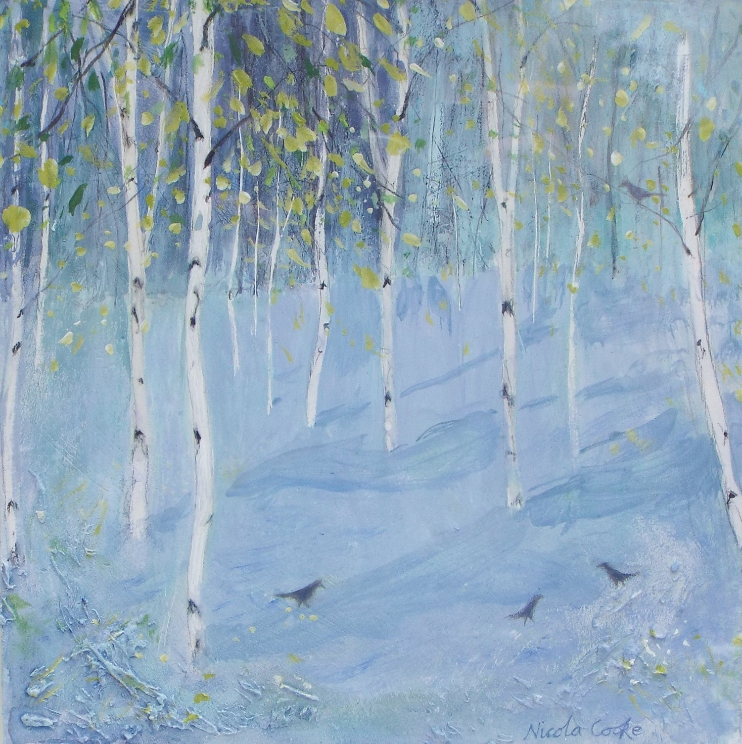 Blackbirds and Birch Trees  mixed media  sold
