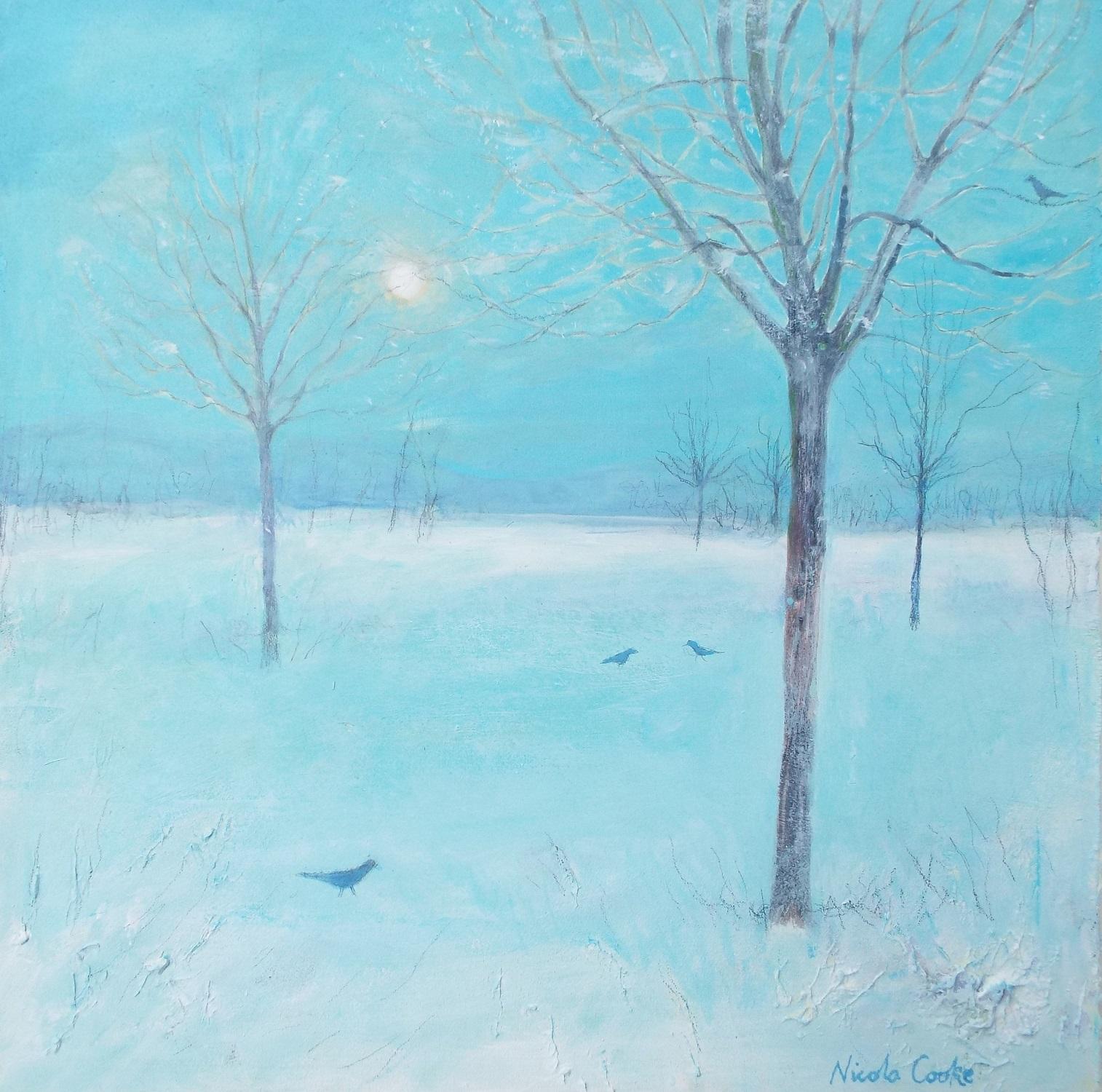 Sunlit Misty Trees   mixed media   sold