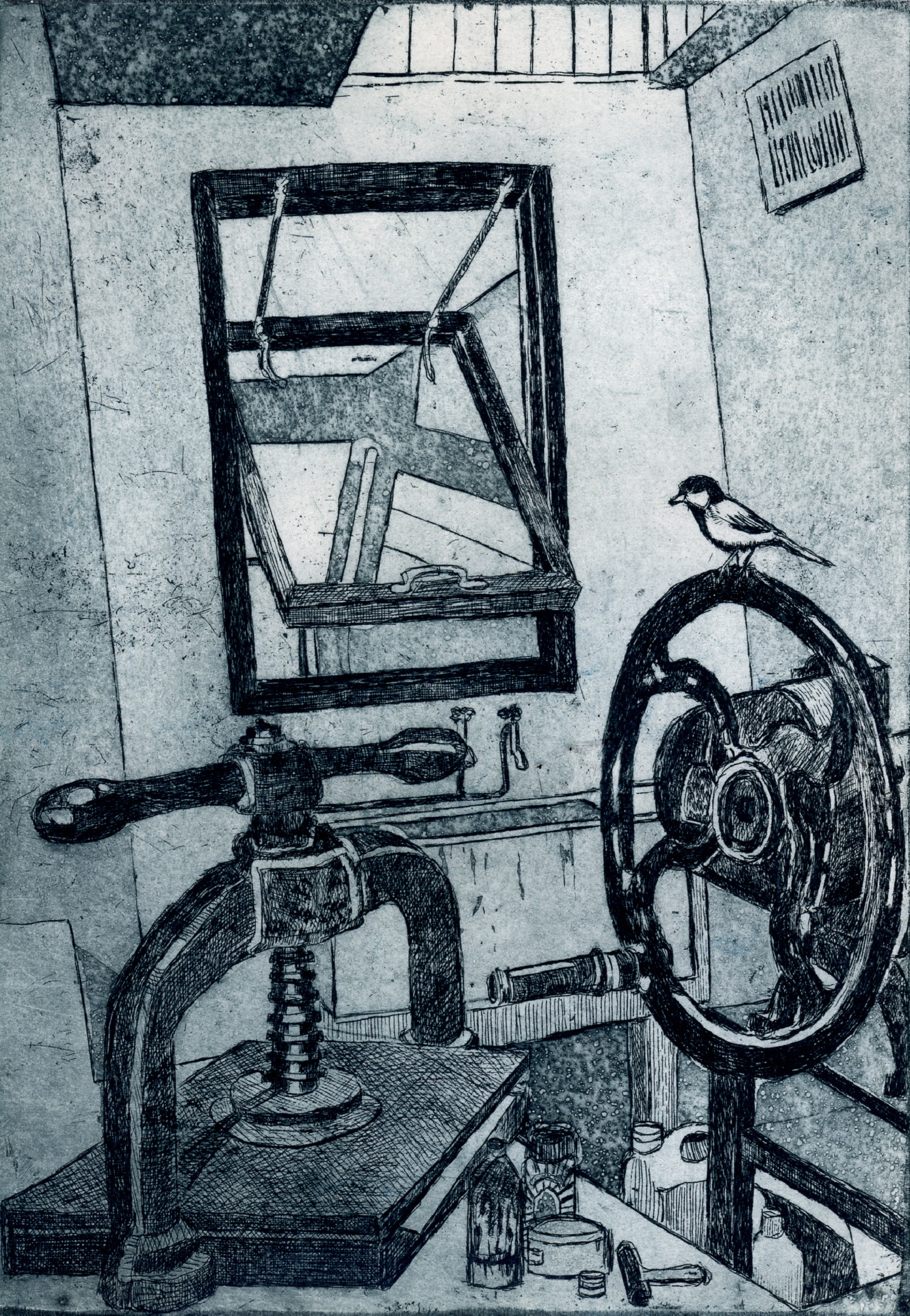 Bird on the Press   etching
