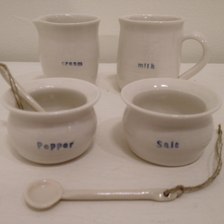 Salt Pot, Pepper Pot, Milk Jug and Cream Jug  porcelain