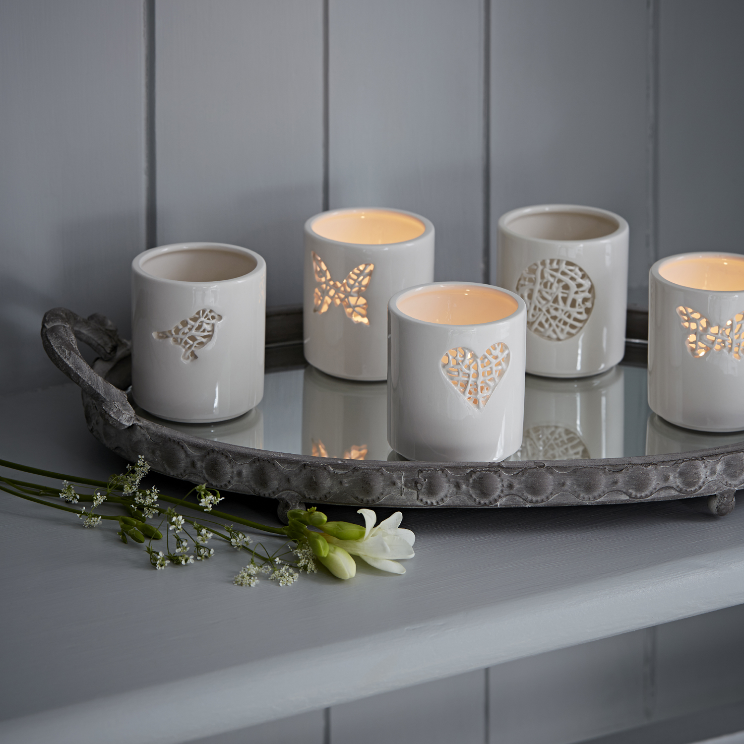 Tangled Tea Light Holders   ceramic    £15 each