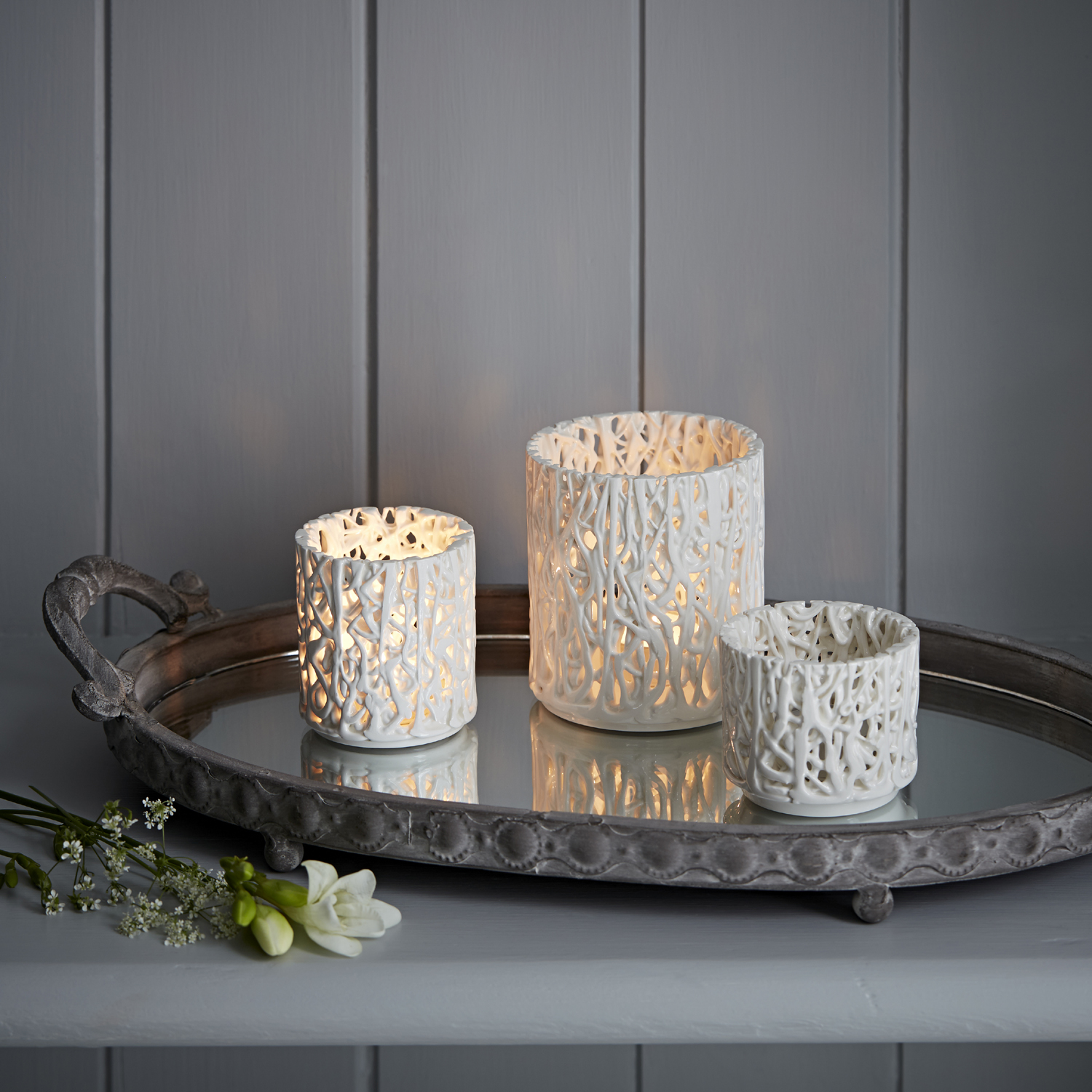 Tangled Web Tea Light Holders  ceramic