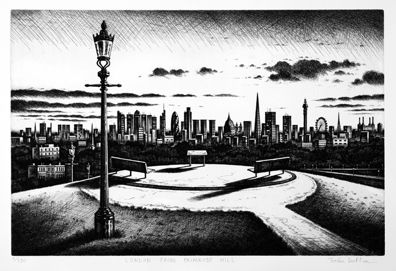 London from Primrose Hill   etching   40 x 61 cm  £495 (unframed)