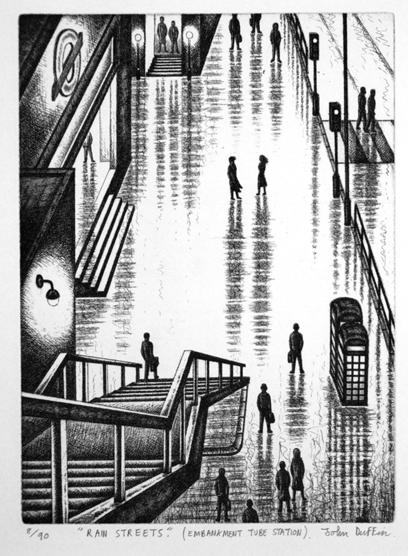 Rain Streets (Embankment Tube Station)   etching   30 x 23cm  £275 (framed)