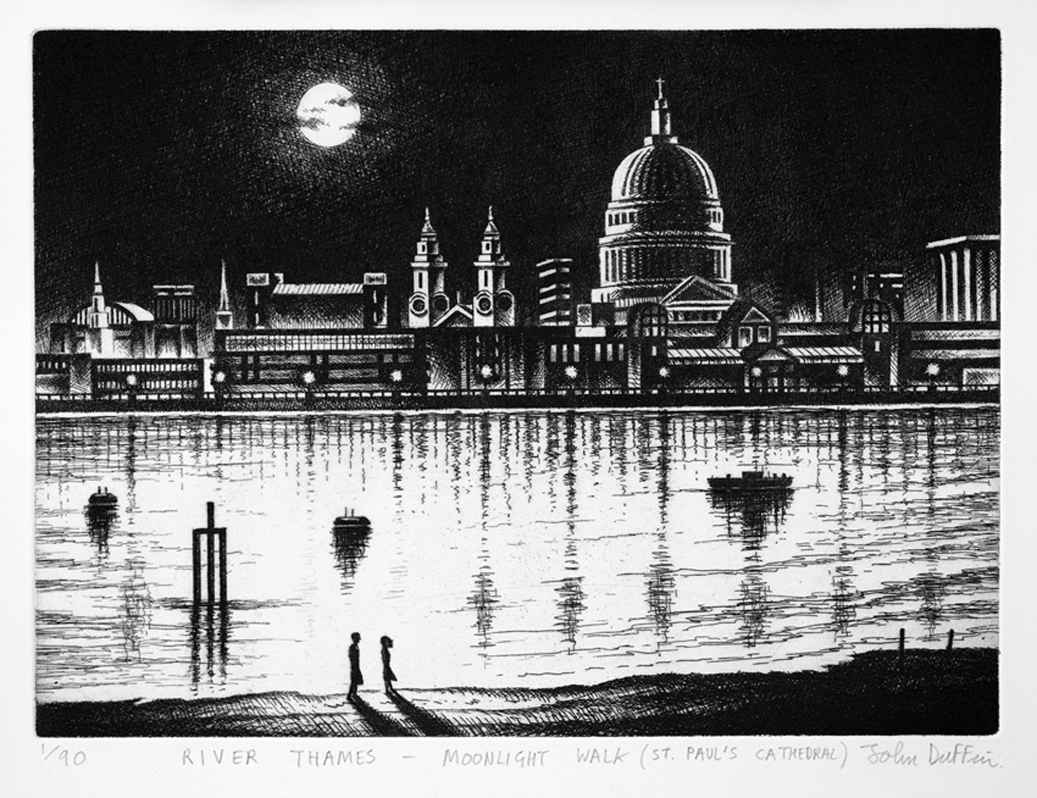 River Thames - Moonlight Walk (St Paul's Cathedral)   etching   21 x 30 cm  £195 (unframed)