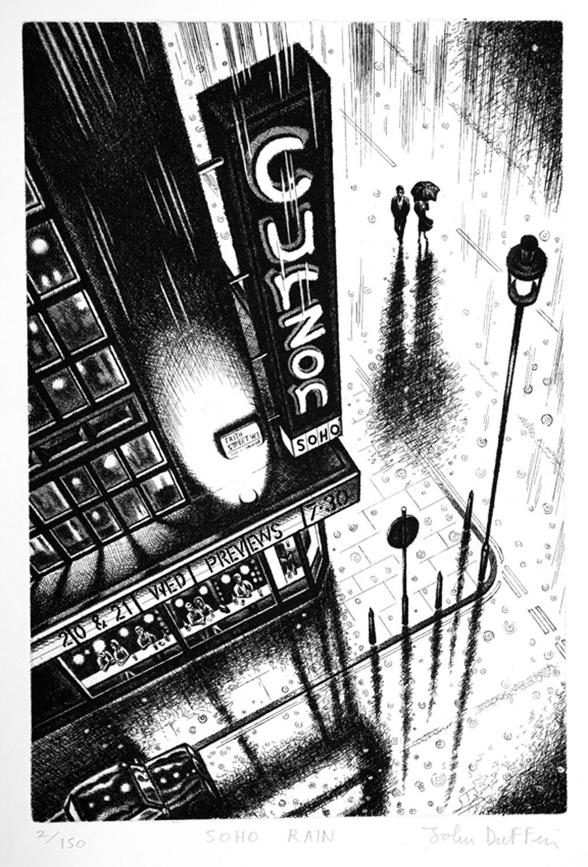 Soho Rain   etching   38 x 25cm  £195 (unframed)