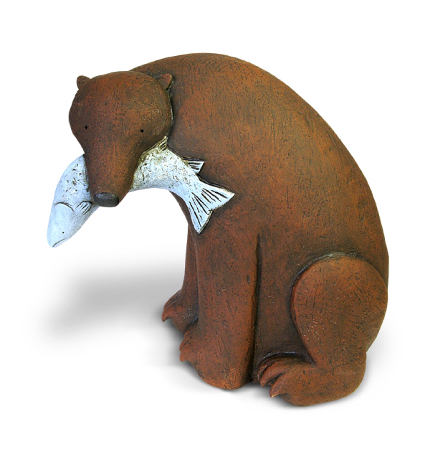Grizzly with fish  hand built clay   £450