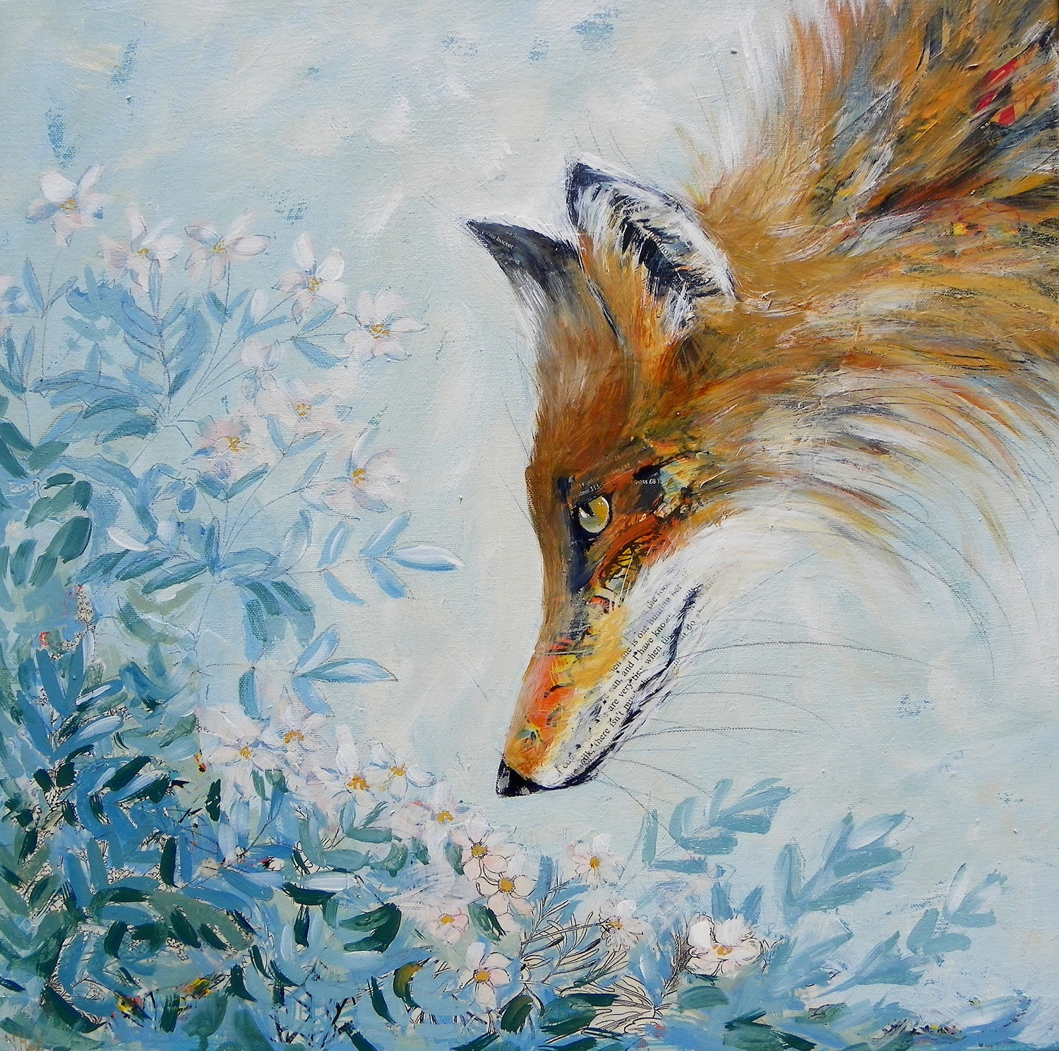 Fox and Dog Rose  mixed media  sold
