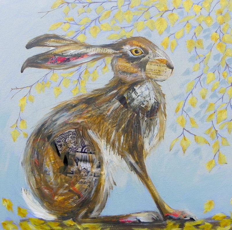 Silver Birch Hare  mixed medias  sold