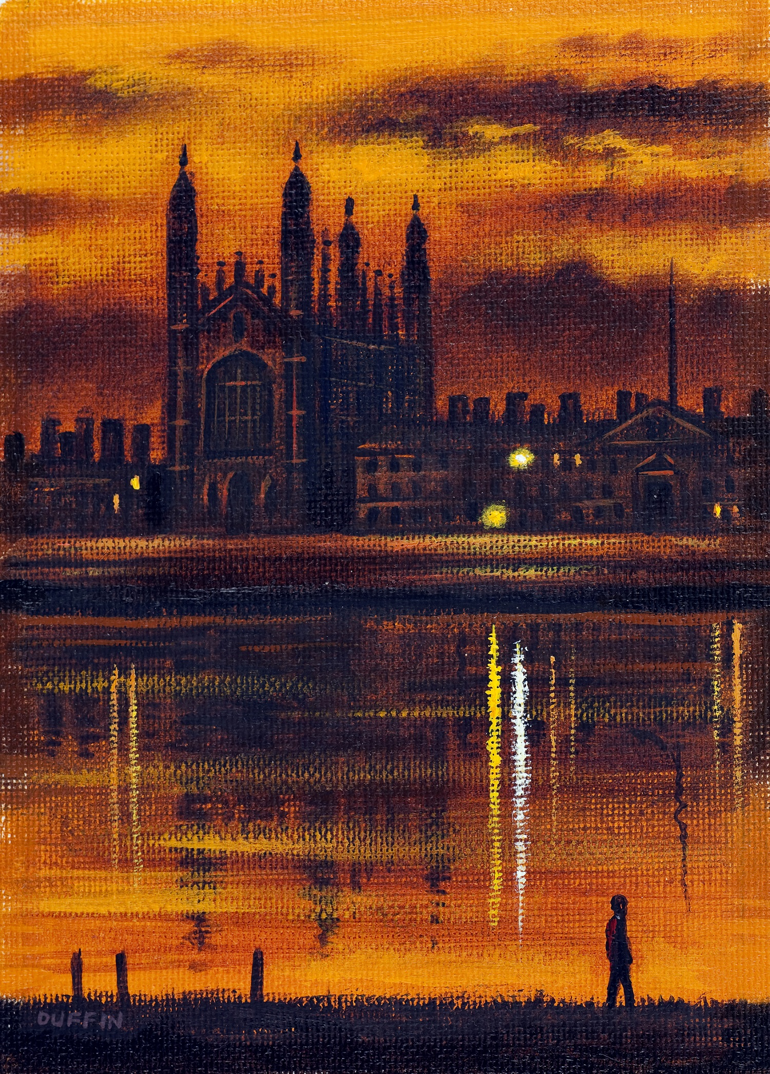 King's College, Cambridge Dusk  oil  16.5 x 11.5cm  £395