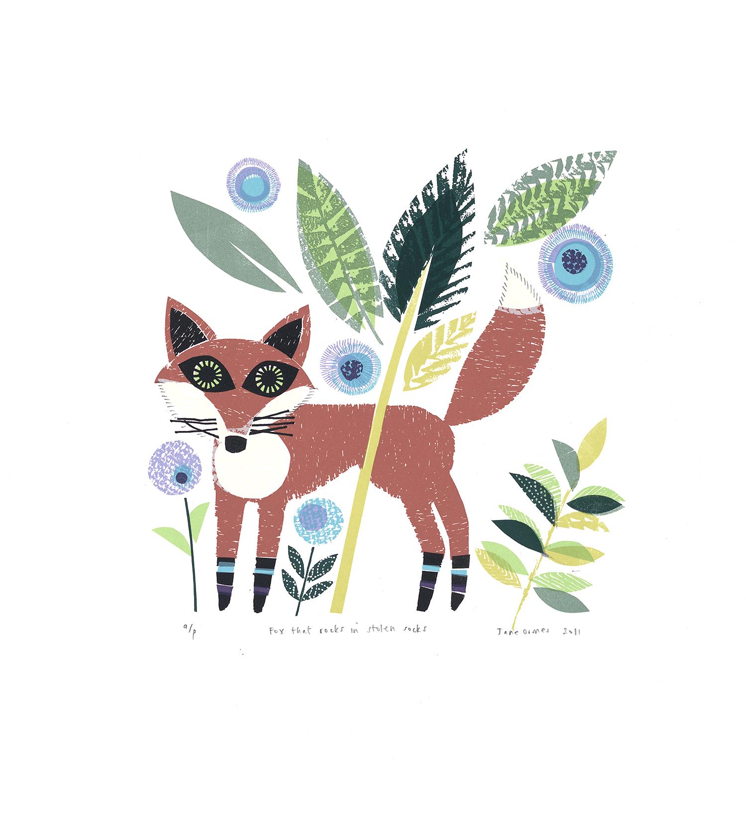 A Fox that Rocks in Stolen Socks   screenprint