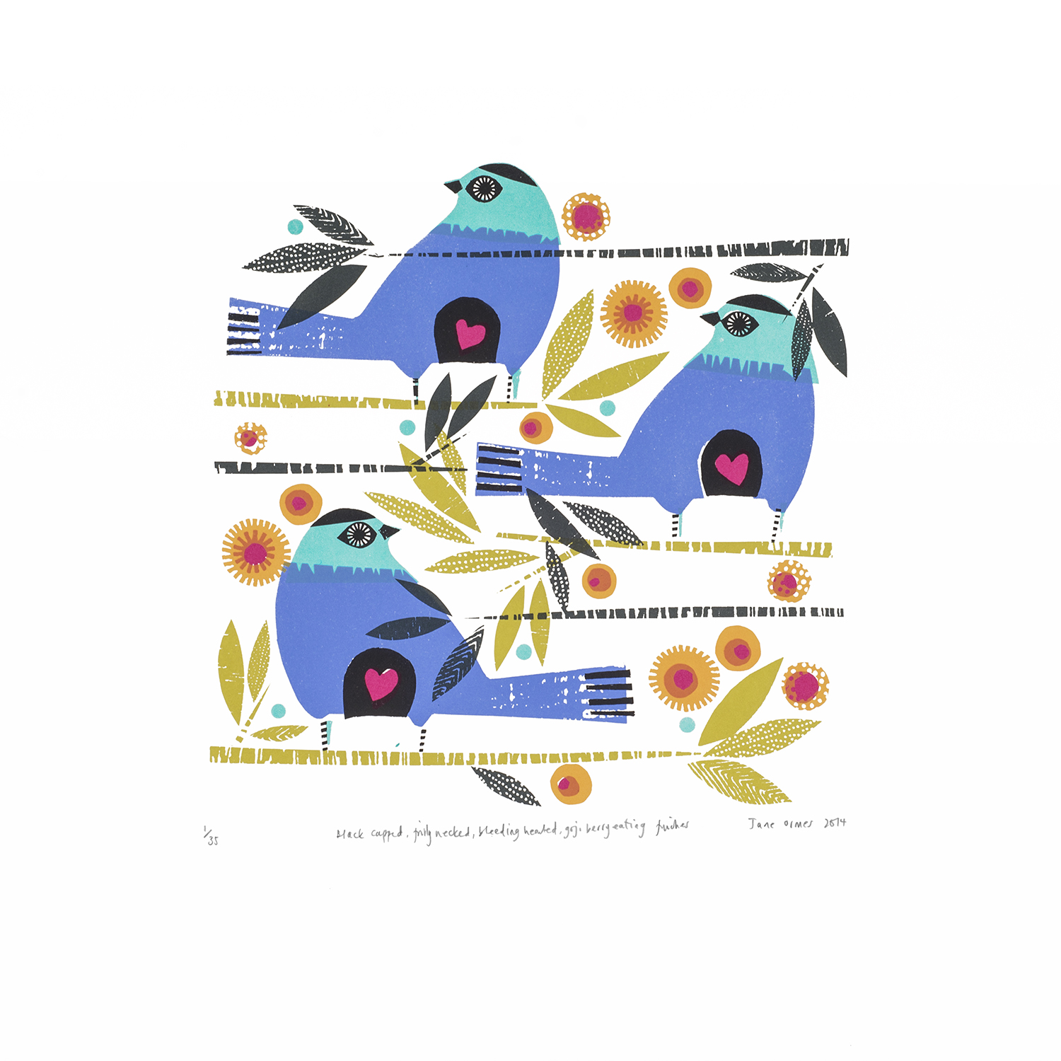 Black Capped, Frilly Necked, Bleeding Hearted, Goji Berry Eating Finches   screenprint