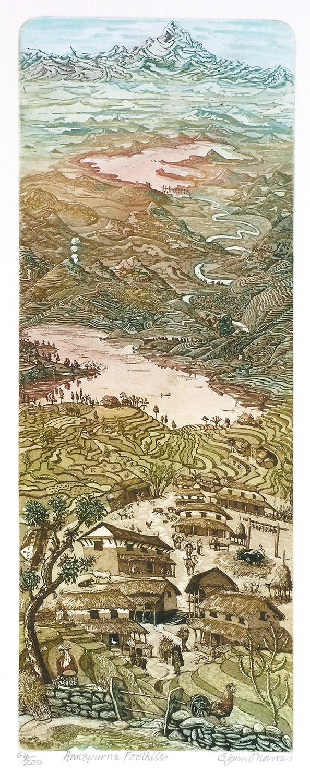 Annapurna Foothills   etching   6 x 38cm  £145 (unframed)