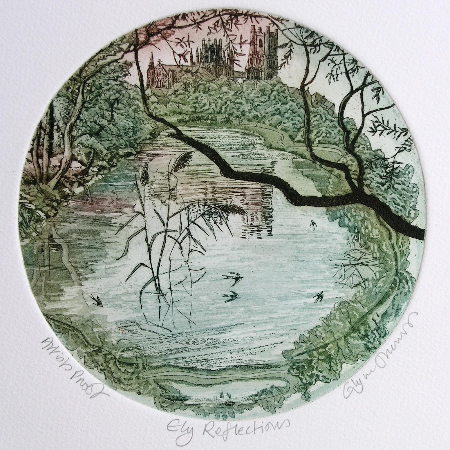 Ely Reflections   etching   35 x 31cm  £137 (framed)