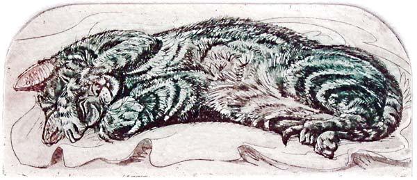 Siesta   etching   20 x 18cm  £48 (unframed)