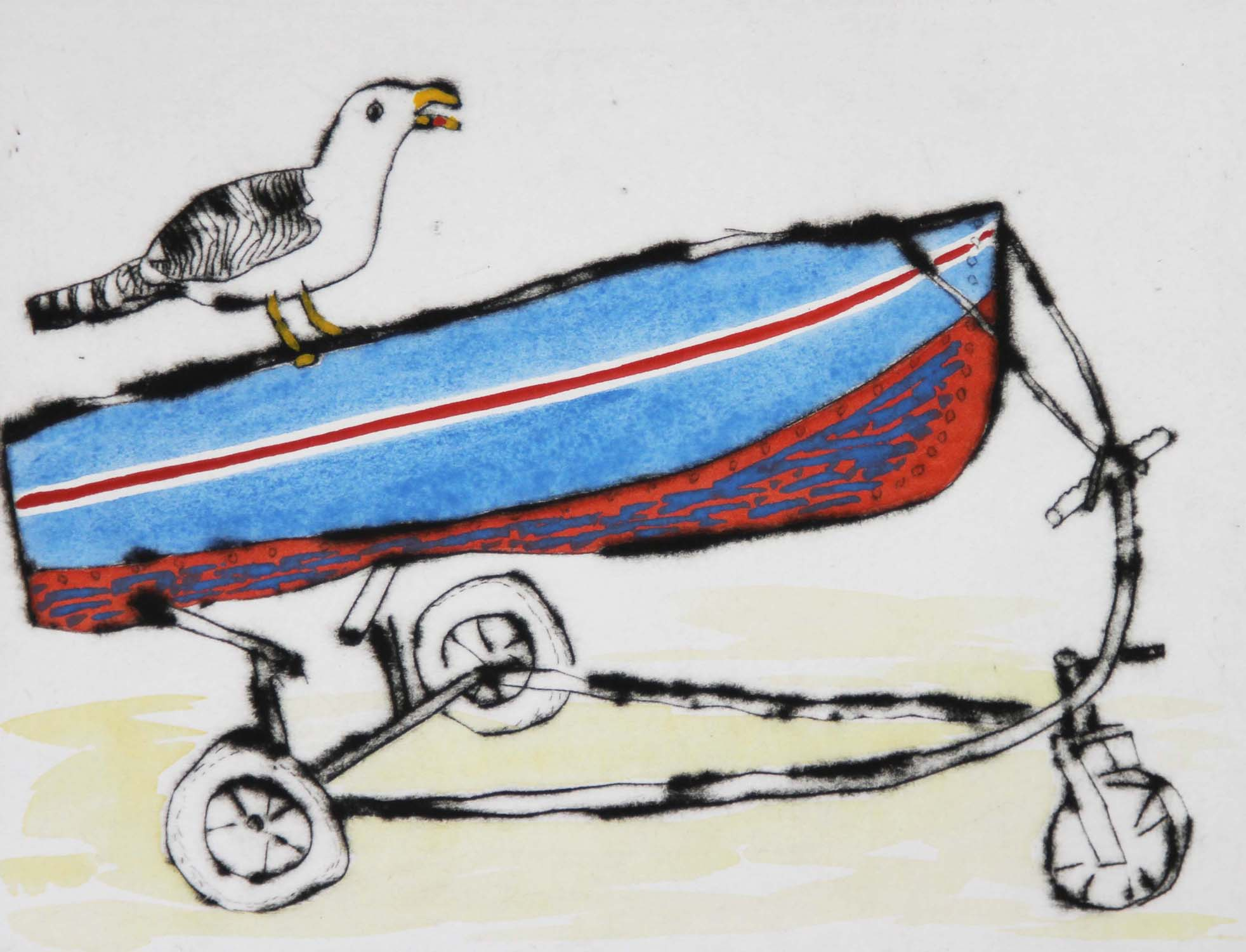 Ahoy!   drypoint  and watercolour  15 x 20 cm  £225 unframed