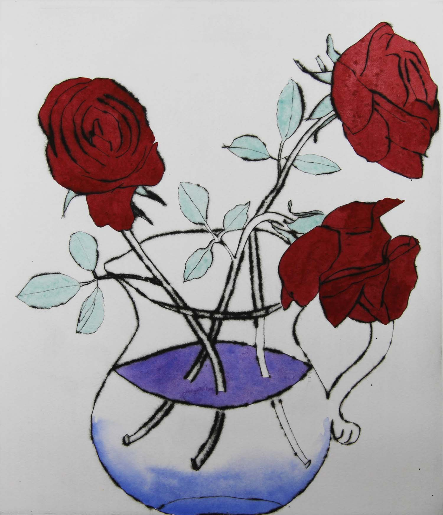 Alizarin Roses   drypoint  and watercolour  30 x 26 cm  £390 unframed