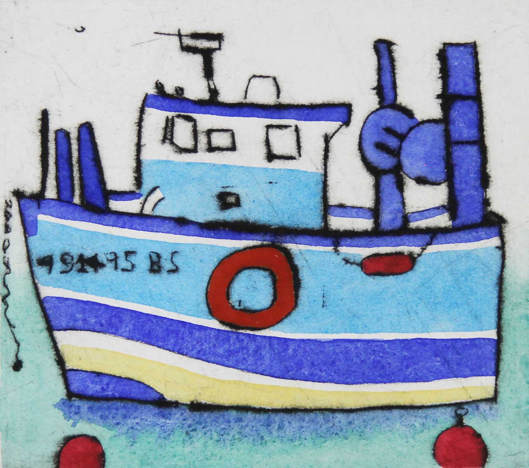 Blue Boat   drypoint  and watercolour  11 x 12.5 cm  £199 unframed