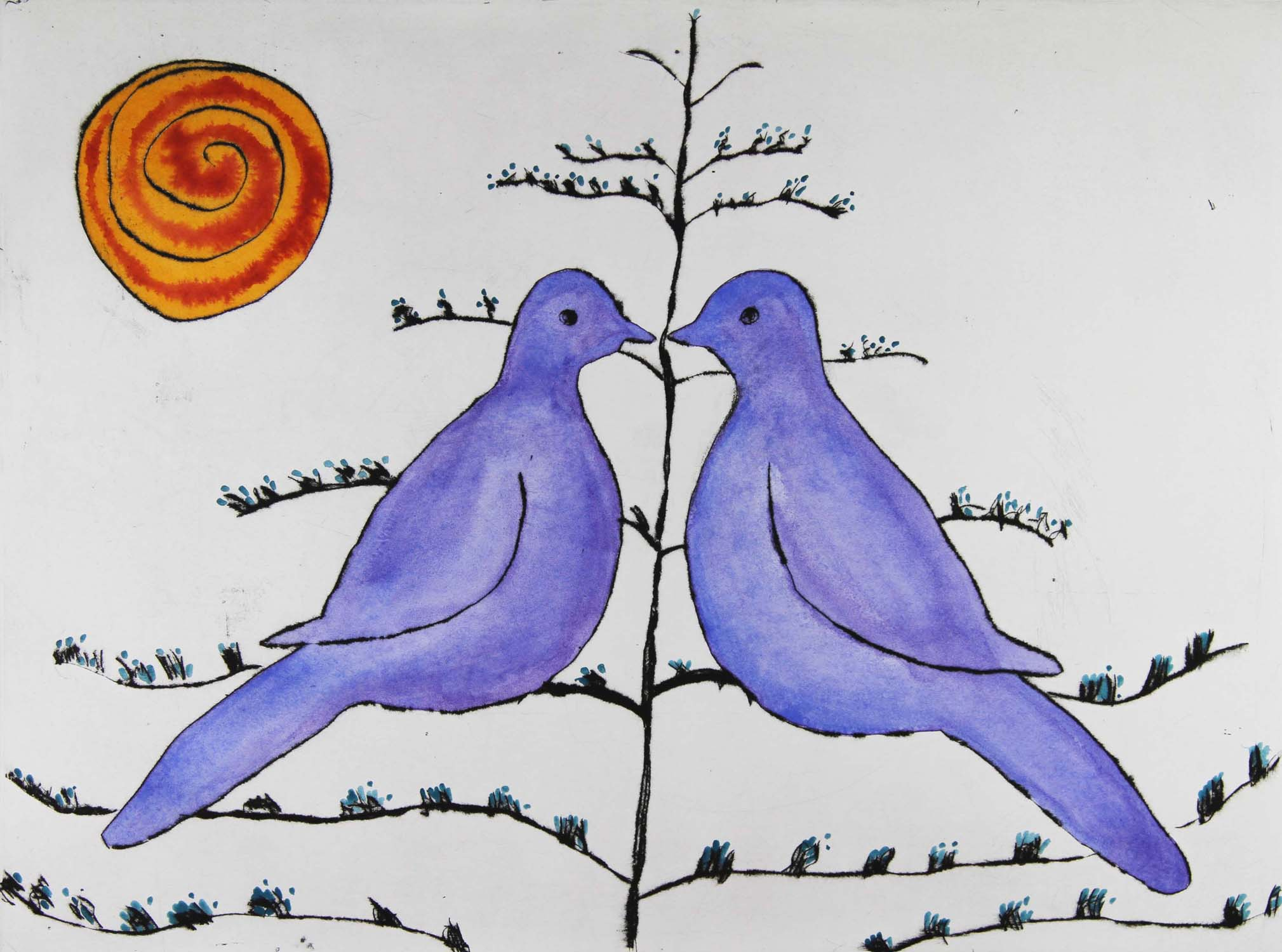 Summer Lovebirds   drypoint  and watercolour  37.5 x 50.5 cm  £450 unframed