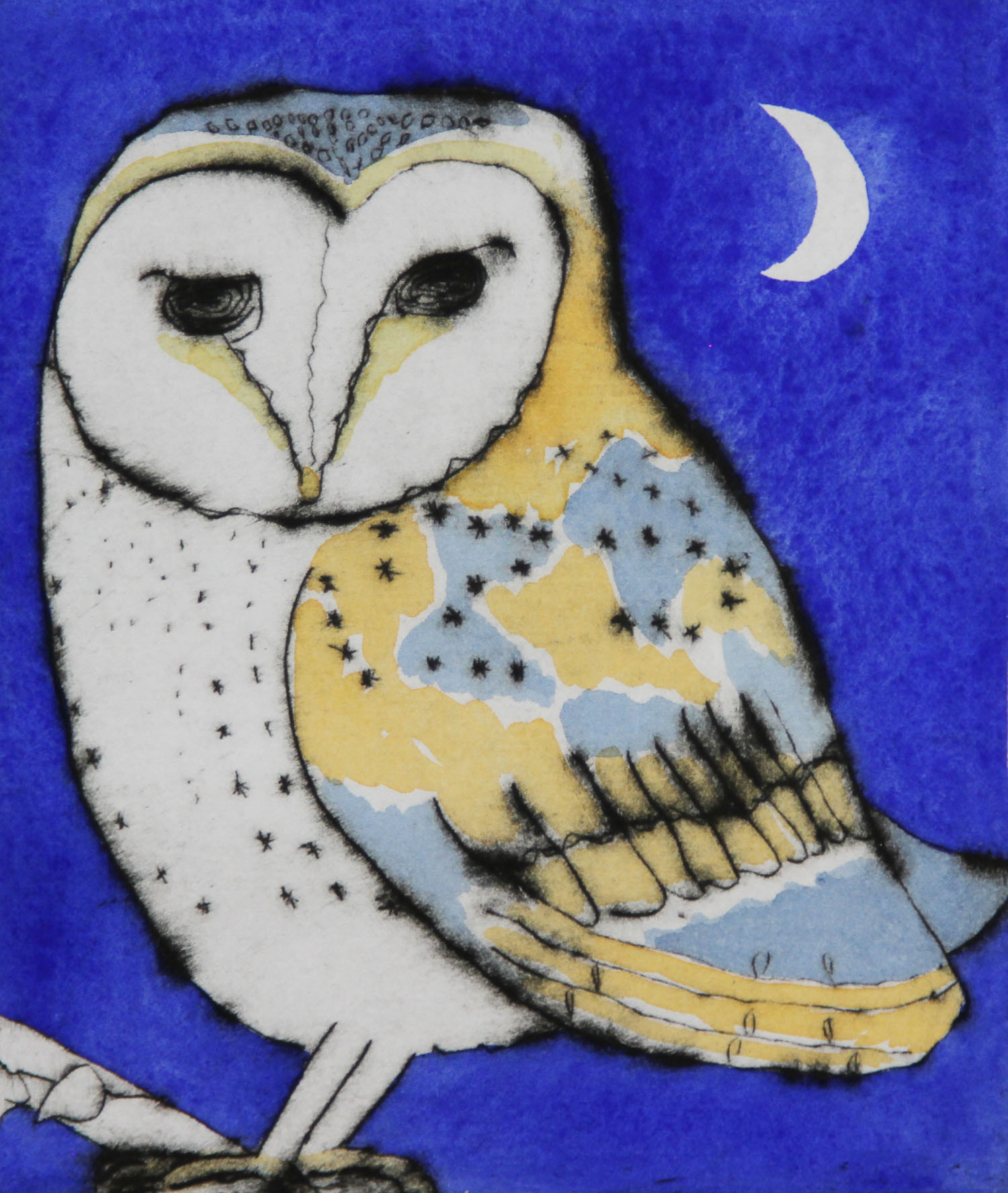 Night Owl   drypoint  and watercolour  15 x 12.5 cm  £225 unframed