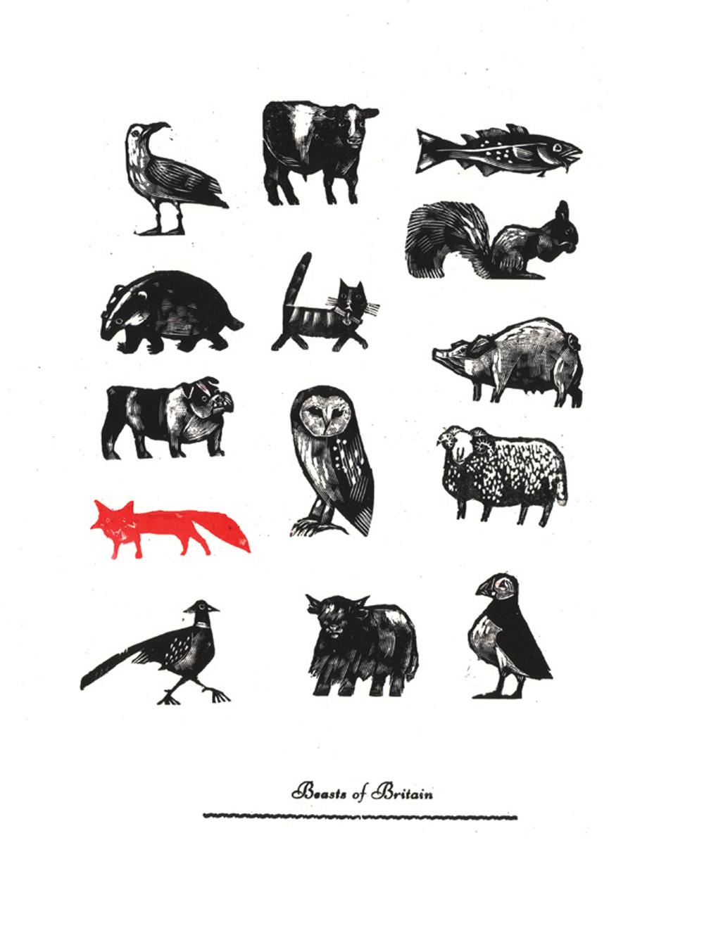 Beasts of Britain   engraving