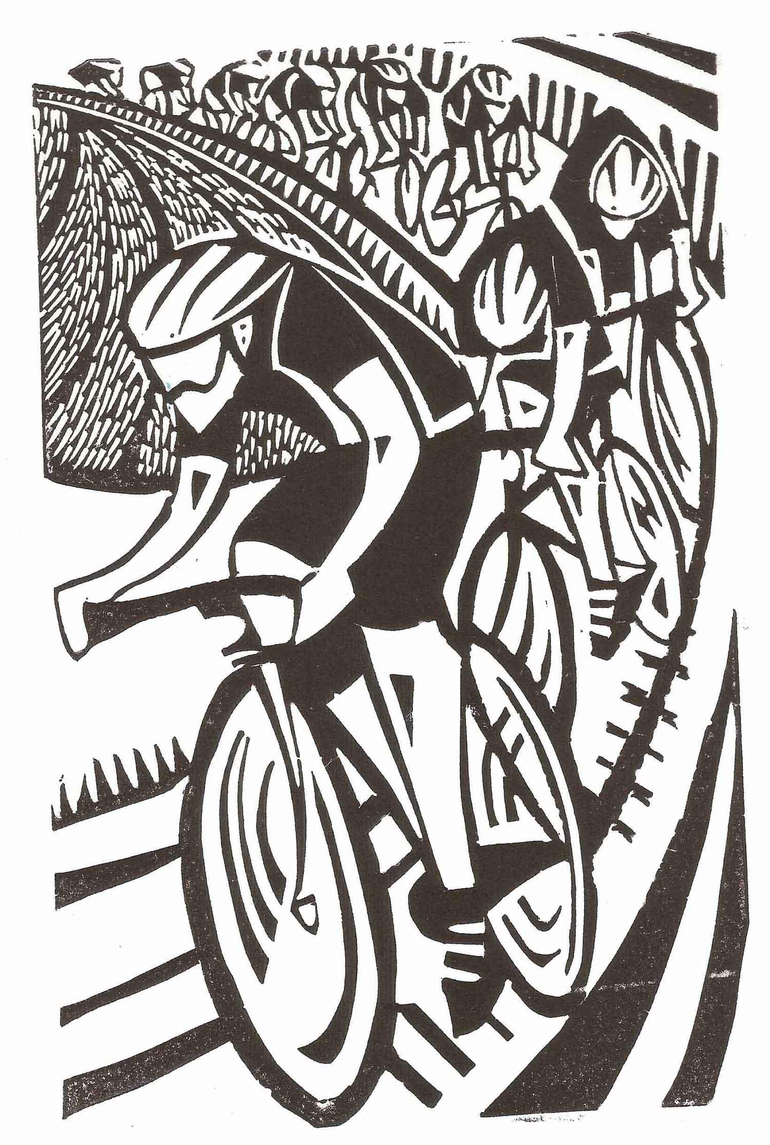 Bike Race   linocut