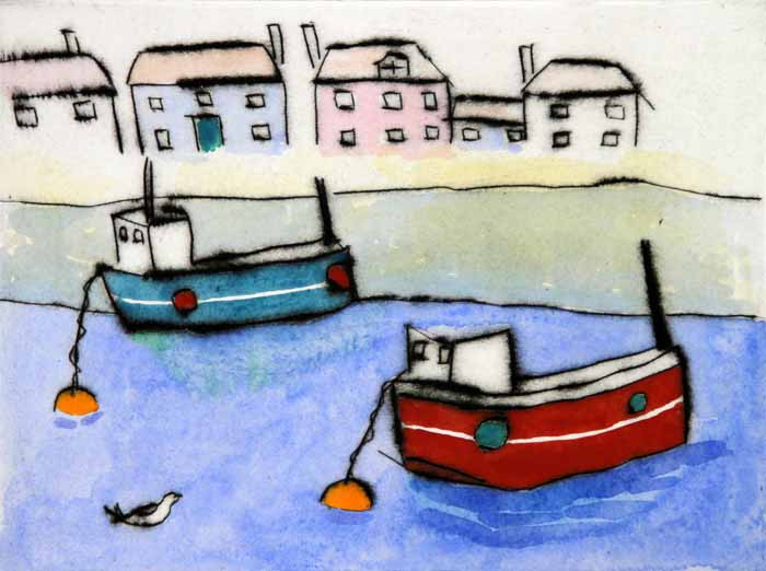 Fishing Boats  drypoint and watercolour  15 x 20 cm  £215 framed £140 unframed
