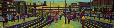 All the World's a Stage   linocut    23 x 90 cm    £440 (unframed)