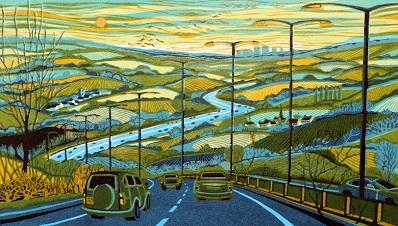 From the Motorway   linocut    40 x 70 cm    £440  (unframed)
