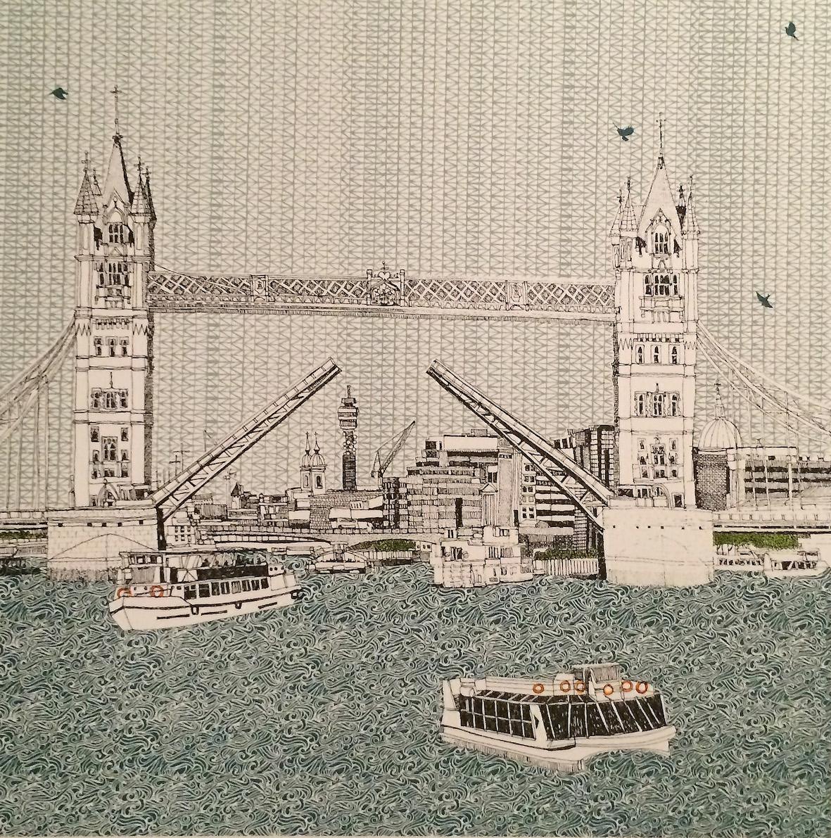 Tower Bridge    screenprint     23 x 23 cm    £150 (unframed)