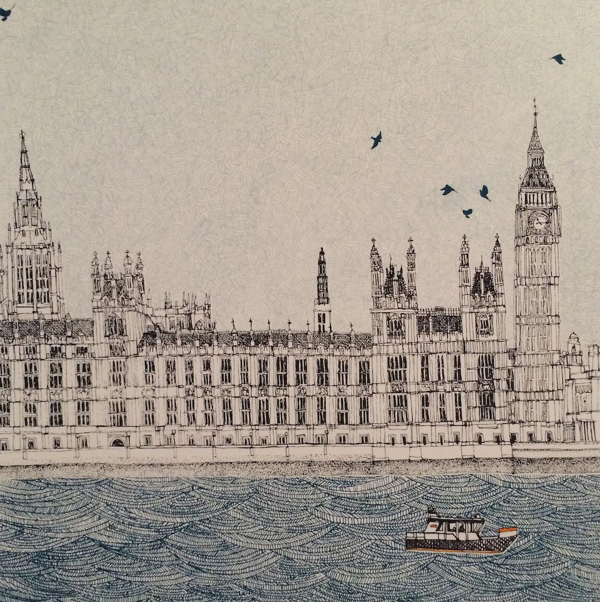 Waves at Westminster    screenprint    23 x 23 cm  £150 (unframed)