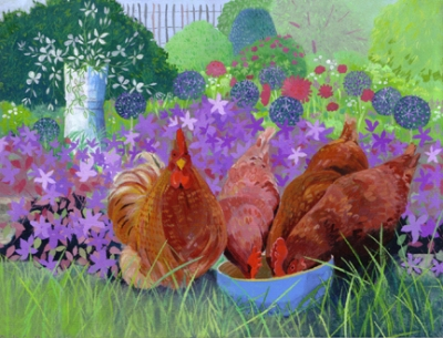 Four Chickens in the Garden  acrylic  £770