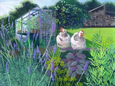 Summer Morning Hens  acrylic  sold